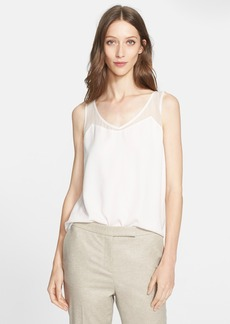 Nordstrom Signature and Caroline Issa Layered Silk Chiffon V-Neck Shell