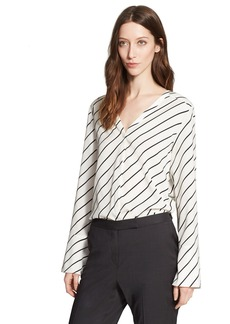 Nordstrom Signature and Caroline Issa Stripe Stretch Silk Blouse with Removable Neck Tie