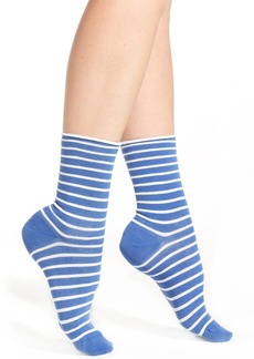 Nordstrom Striped Roll Top Crew Socks