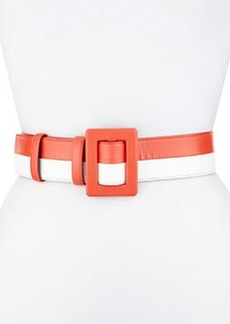 "2 1/4"" Two-Tone Leather Belt, Orange/White   2 1/4"" Two-Tone Leather Belt, Orange/White"