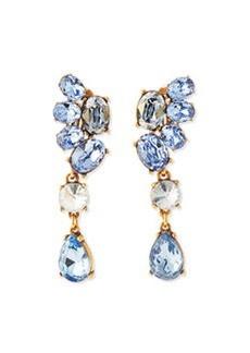Asymmetric Crystal Earrings, Blue   Asymmetric Crystal Earrings, Blue