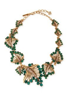 Cutout Jeweled Leaf Necklace, Green   Cutout Jeweled Leaf Necklace, Green