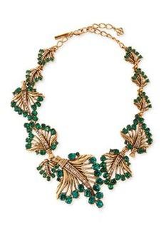 Cutout Jeweled Leaf Necklace, Green   Cutout Jeweled Leaf Necklace, Green