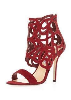 Cutout Suede Glove Sandal, Cardinal   Cutout Suede Glove Sandal, Cardinal