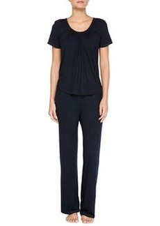 Essential Luxuries Modal Jersey Pajama Set, Navy   Essential Luxuries Modal Jersey Pajama Set, Navy