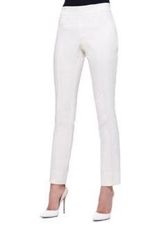 Front-Seam Slim Pants, Ivory   Front-Seam Slim Pants, Ivory