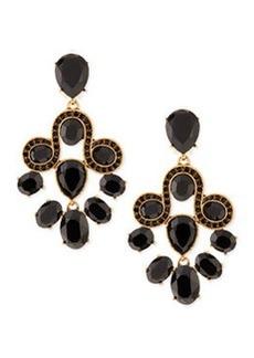 Golden & Faceted Crystal Chandelier Earrings   Golden & Faceted Crystal Chandelier Earrings