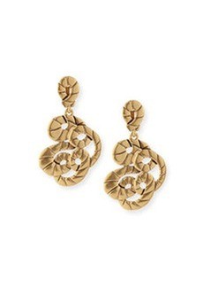 Golden Swirl Clip-On Drop Earrings   Golden Swirl Clip-On Drop Earrings
