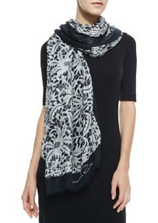 Lace Printed Scarf, Black/White   Lace Printed Scarf, Black/White
