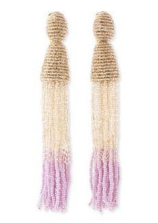 Long Ombre-Beaded Tassel Earrings, Almond/Cream/Lilac   Long Ombre-Beaded Tassel Earrings, Almond/Cream/Lilac