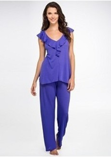 Oscar de la Renta A Soft Focus Knit Pajama Set