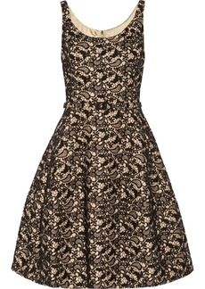 Oscar de la Renta Appliquéd lace and rabbit felt-blend dress