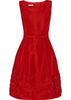 Oscar de la Renta Appliquéd silk-faille dress