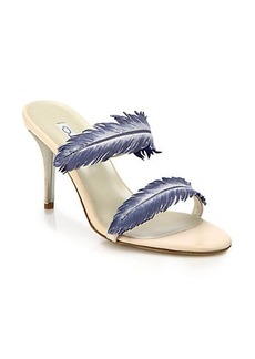 Oscar de la Renta Arora Leather Feather-Strap Sandals