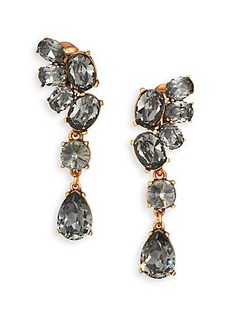 Oscar de la Renta Asymmetrical Crystal Clip-On Drop Earrings