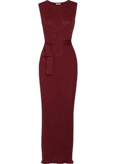 Oscar de la Renta Bead-embellished knitted silk gown