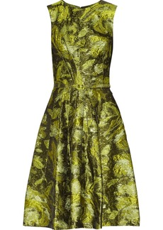 Oscar de la Renta Belted metallic jacquard dress