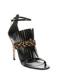 Oscar de la Renta black leather and leopard print pony hair ankle strap sandals