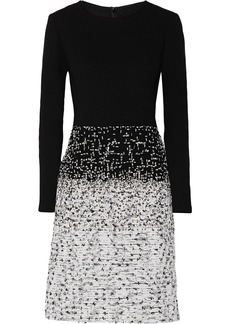 Oscar de la Renta Bouclé-paneled knitted dress