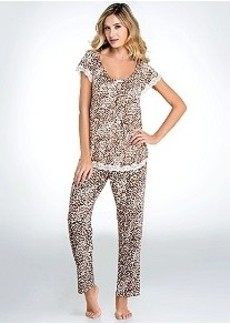Oscar de la Renta Boudoir Lace Knit Pajama Set