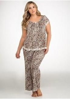 Oscar de la Renta Boudoir Lace Knit Pajama Set Plus Size