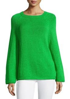 Oscar de la Renta Braided-Trim Raglan Pullover Sweater