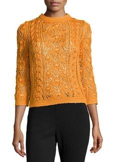 Oscar de la Renta Cable Knit Silk Pullover Sweater