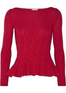 Oscar de la Renta Cable-knit wool and cashmere-blend peplum sweater
