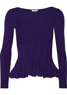 Oscar de la Renta Cable-knit wool and cashmere-blend peplum sweater