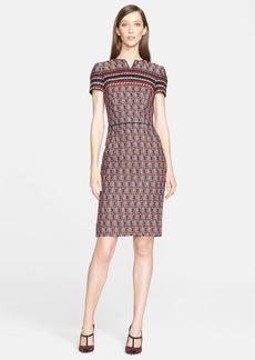 Oscar de la Renta Cap Sleeve Check Tweed Dress
