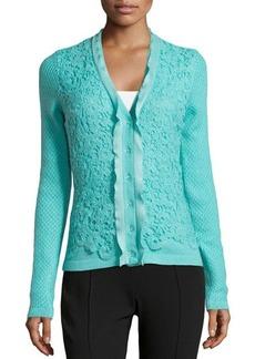 Oscar de la Renta Cashmere-Blend Floral Crochet-Detailed Cardigan