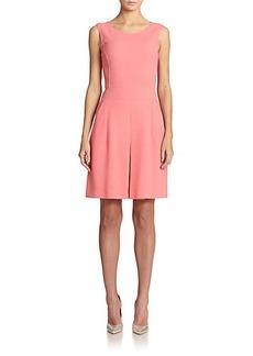 Oscar de la Renta Center-Pleat Wool Dress