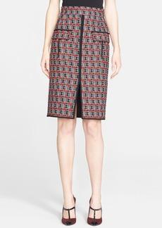 Oscar de la Renta Check Tweed Cotton & Wool Pencil Skirt