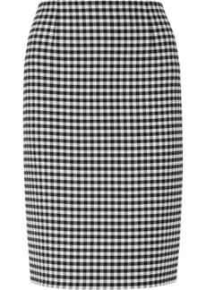 Oscar de la Renta Checked stretch-wool twill pencil skirt