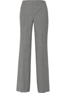 Oscar de la Renta Checked wool, silk and linen-blend wide-leg pants