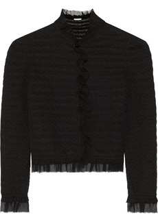 Oscar de la Renta Chiffon-trimmed wool-blend cardigan