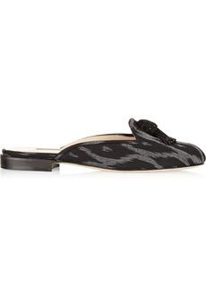 Oscar de la Renta Cici embellished canvas slippers