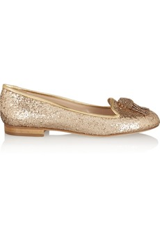 Oscar de la Renta Ciciclo embellished glittered leather loafers
