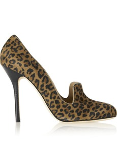 Oscar de la Renta Ciciliagm leopard-print suede pumps