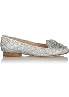 Oscar de la Renta Ciciolo embellished glittered leather loafers