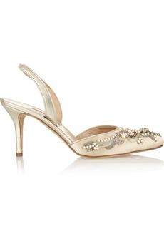 Oscar de la Renta Conchetta embellished satin slingback pumps