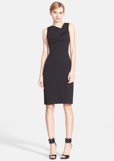 Oscar de la Renta Cowl Neck Stretch Wool Sheath Dress
