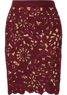 Oscar de la Renta Crocheted silk mini skirt