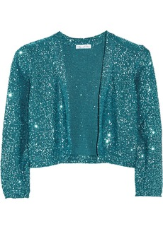 Oscar de la Renta Cropped sequined silk-blend cardigan