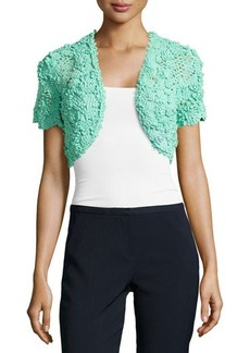 Oscar de la Renta Cropped Silk Crochet Bolero