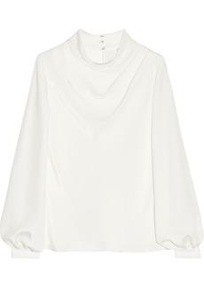 Oscar de la Renta Draped silk-crepe blouse