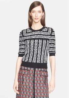 Oscar de la Renta Elbow Sleeve Tweed Knit Pullover