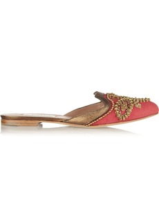 Oscar de la Renta Embellished canvas slippers