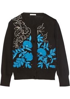 Oscar de la Renta Embellished cashmere and silk-blend cardigan