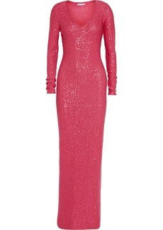 Oscar de la Renta Sequined cotton-blend gown